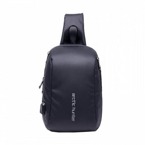 ARCTIC HUNTER Τσάντα Crossbody XB-00081-BK, USB, αδιάβροχη, μαύρη
