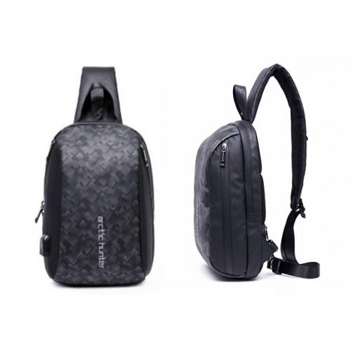 ARCTIC HUNTER Τσάντα Crossbody XB-00081-BK, USB, αδιάβροχη, μαύρη-grid