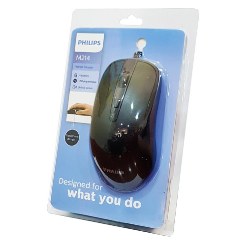 PHILIPS ενσύρματο ποντίκι SPK721414, 1600DPI, USB, 4 πλήκτρα, μαύρο