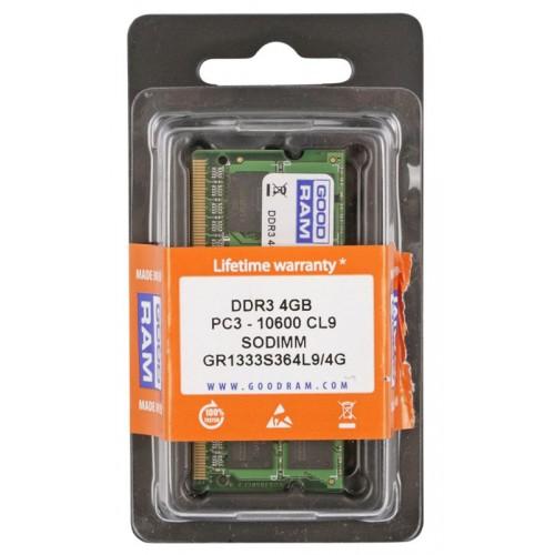 GOODRAM so-dimm μνήμη τύπου DDR3, 4GB, 1333mHZ, PC3 10600
