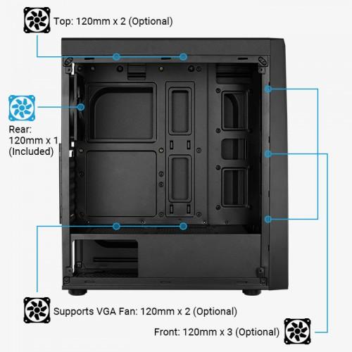 AEROCOOL PC case mid tower BOLT-A-BK-V1, 194x444x410mm, 1x fan
