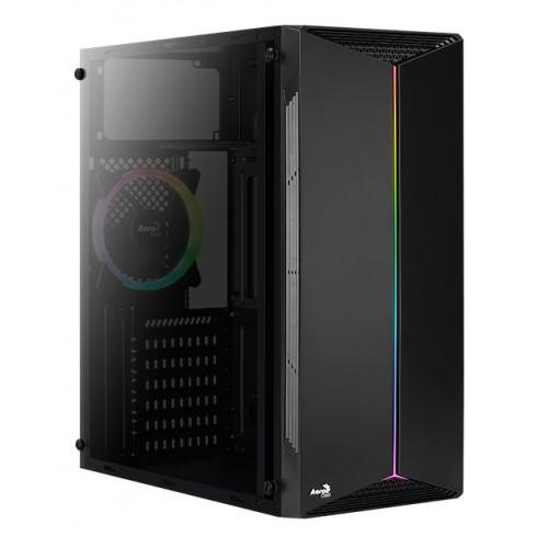 AEROCOOL PC case mid tower SPLIT-G-BK-V1, 192.5x412.5x392mm, 1x RGB fan
