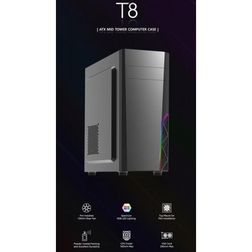 ZALMAN PC case ATX mid tower T8, 394.5x200x423mm, 1x fan