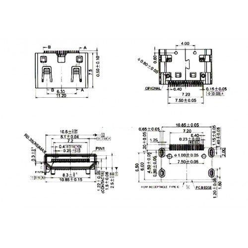Mini HDMI Female Socket Connector 19 pins